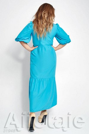 Платье в пол с отложным воротником