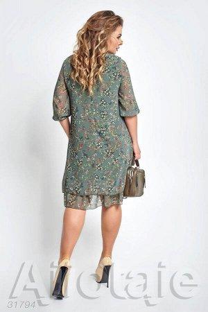 Шифоновое платье цвета хаки с цветочным узором