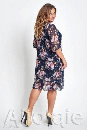 Темно-синее платье с цветочным узором