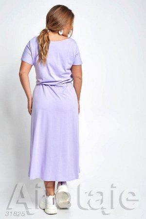 Лиловое трикотажное платье с талией на резиночке