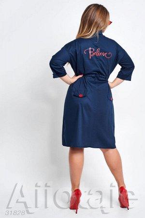 Темно-синее платье с талией на кулиске