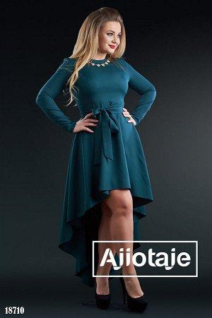 Платье бутылочного цвета с длинным рукавом