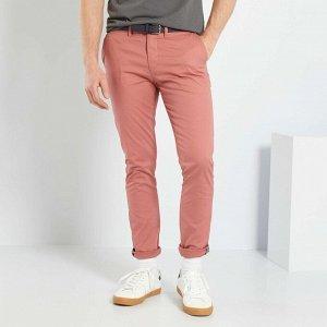 Узкие брюки-чинос с ремнем - розовый