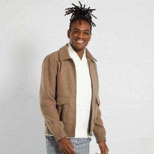 Легкая куртка из шерсти - серый бежевый