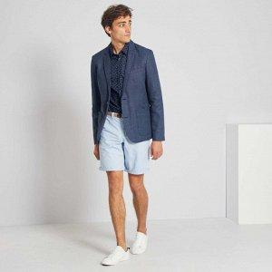 Зауженный пиджак из льна и хлопка - синий