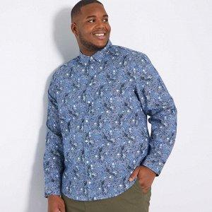 Рубашка с цветочным рисунком - голубой