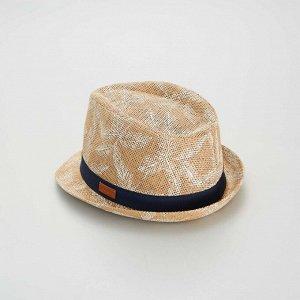 Шляпа из рафии с рисунком - бежевый