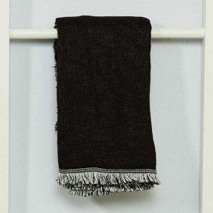 Платок с бахромой - черный