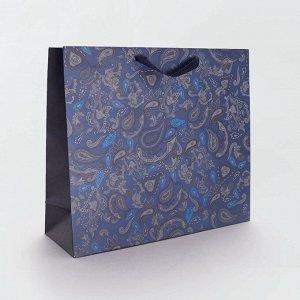 Подарочный пакет из переработанной бумаги - голубой