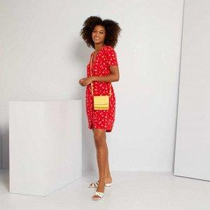Платье-рубашка в цветочек - красный