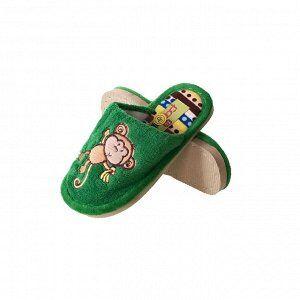 Модель маломерит, смотрите описание. Размер 31. ??Теплые детские тапочки Monkey с нашивкой изумрудного цвета.