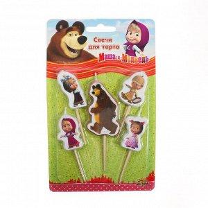 Свечи для торта «Маша и Медведь», на пиках, набор 5 шт.
