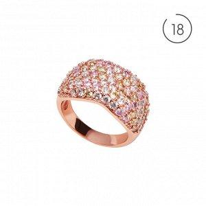 Материал: латунь, кубический цирконий. Покрытие из натурального розового золота. Не содержит никель. 18 размер.* Кольцо «Краски рассвета» 18