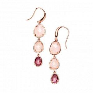 Материал: латунь, натуральный розовый кварц, стекло. Покрытие из  натурального розового золота. Не содержат никель. Длина серьги: 5 см.* Серьги «Завораживающий кварц»