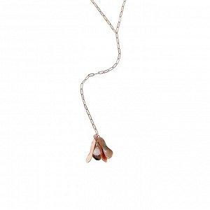 Материал: латунь, натуральный розовый кварц. Покрытие из розового золота. Длина колье: 55 + 7 см дополнительно. Длина «лепестков»: 3 см. Размер камня: 0,9 х 0,8 см.* Колье «Таинственный кварц»