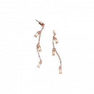 Материал: латунь, натуральный розовый кварц. Покрытие из натурального розового золота. Не содержит никель. Длина серьги: 6 см.* Серьги «Изящный кварц»