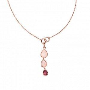 Материал: латунь, натуральный розовый кварц, стекло. Покрытие из натурального розового золота. Не содержит никель. Длина колье: 43 + 7,5 см дополнительно.* Колье «Завораживающий кварц»