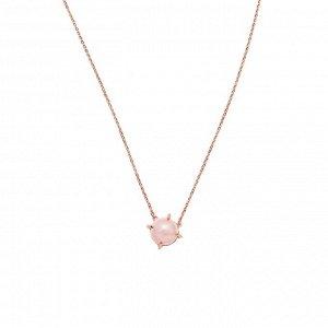 Материал: латунь, натуральный розовый кварц. Покрытие из натурального розового золота. Не содержит никель. Длина колье: 43 + 7,5 см дополнительно.* Колье «Деликатный кварц»