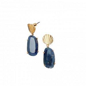 Материал: латунь, натуральный содалит, титан. Покрытие из латуни. Не содержат никель. Размер серьги: 3,5 x 1 см.* Серьги «Морской содалит»