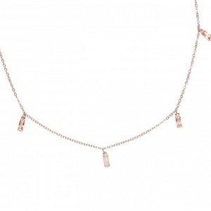 Материал: латунь, натуральный розовый кварц, кубический цирконий. Покрытие из натурального розового золота. Не содержит никель. Длина колье: 61 + 7,5 см дополнительно.* Колье «Изящный кварц»