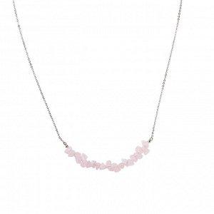 Материал: латунь, натуральный розовый кварц. Покрытие из натурального родия. Длина колье: 52 + 6 см дополнительно.* Колье «Окрыляющий кварц»