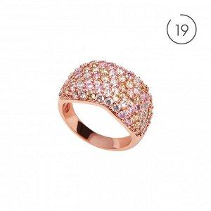 Материал: латунь, кубический цирконий. Покрытие из натурального розового золота. Не содержит никель. 19 размер.* Кольцо «Краски рассвета» 19