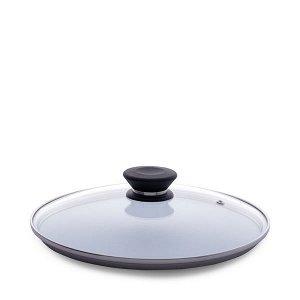 Стеклянная крышка с ручкой для сковороды с антипригарным покрытием 24 см от бренда iCook™. Удобно хранить, комфортно использовать, безопасно готовить.