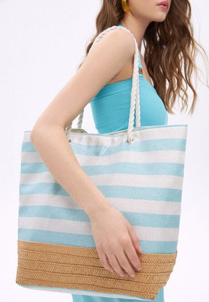 Пляжная сумка, цвет бело-голубой