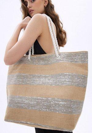 Пляжная сумка, цвет серебристо-бежевый