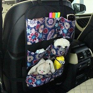 Защита для спинки сиденья + Органайзер для автомобиля, 6 карманов, Узоры