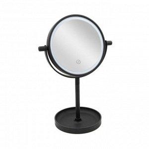 Настольное зеркало круглое с подсветкой Черное (без упаковки)