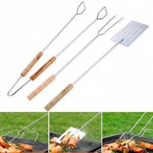 Набор для барбекю: лопатка, вилка, щипцы (без упаковки)