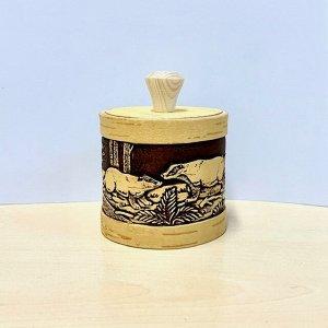 """Туес берестяной """"Крепыш"""" (Барсуки), высота-10,5 см (с хватком), диаметр-8,5 см"""