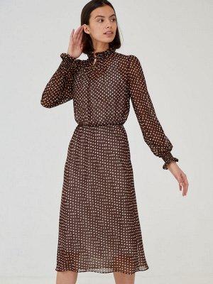 Платье СОСТАВ ВИСКОЗА 70%, ПОЛИЭСТЕР 30%  Воздушное романтичное платье из шифона. Горошек - тот самый принт, переходящий из поколения в поколение и никогда не теряющий своей актуальности. Горловина де