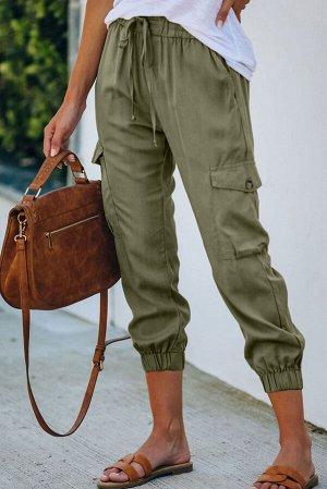 Оливковые джинсовые джоггеры с карманами