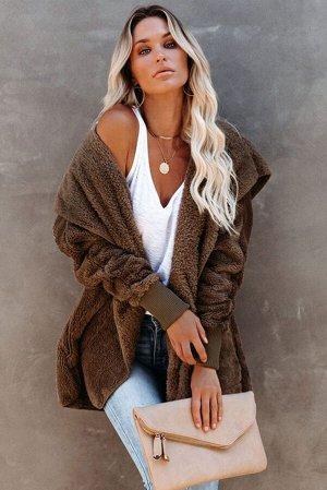 Коричневое открытое пальто из мягкого флиса с капюшоном