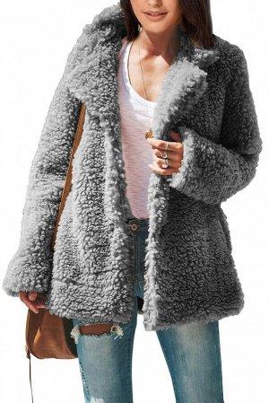 Серое утепленное пальто из шерпы