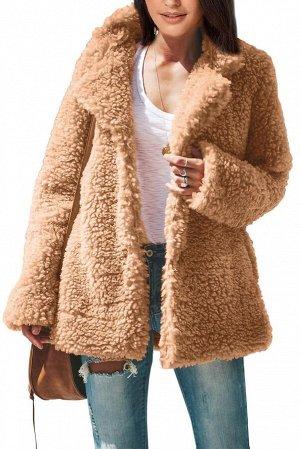 Бежевое утепленное пальто из шерпы