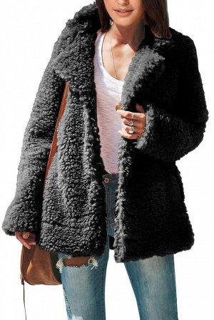Черное утепленное пальто из шерпы