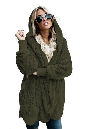 Темно-зеленая флисовая куртка-худи в стиле оверсайз без застежки и с карманами