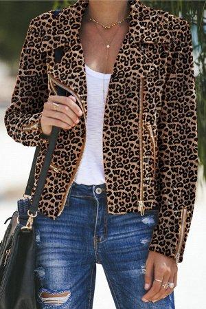 Коричневая леопардовая укороченная куртка-косуха с множеством молний