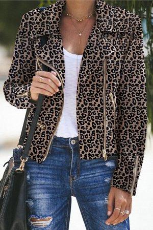 Леопардовая укороченная куртка-косуха с множеством молний