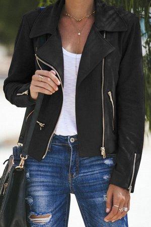 Черная укороченная куртка-косуха с множеством молний