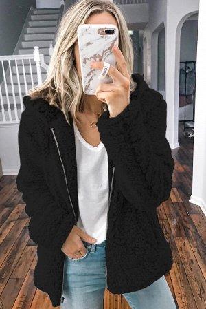Черная однотонная куртка из флиса с капюшоном и застежкой на молнии