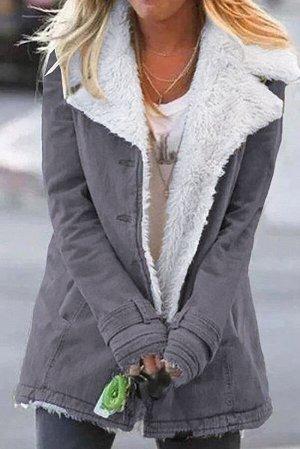 Серое джинсовое пальто с подкладкой из шерсти с отложным воротником и лацканами