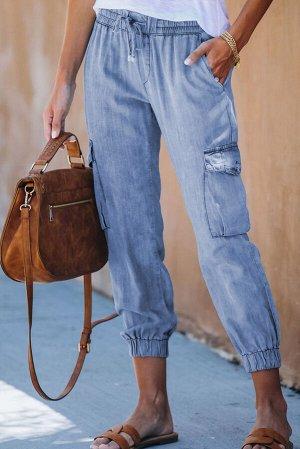 Небесно-голубые джинсовые джоггеры с карманами