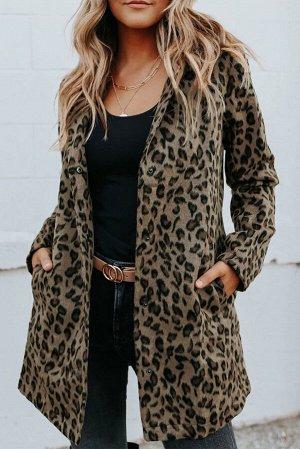 Леопардовое пальто цвета хаки с застежкой на кнопки