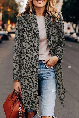 Серое леопардовое пальто с застежкой на кнопки