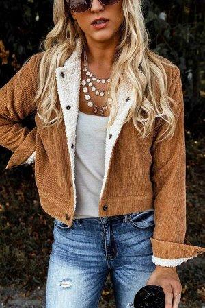 Светло-коричневая вельветовая куртка с флисовой подкладкой и застежкой на кнопках