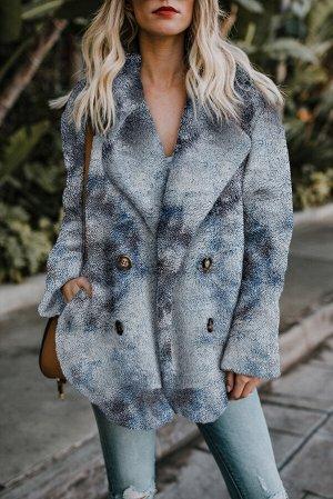 Серо-голубое флисовое открытое пальто с красочным принтом и отложным воротником